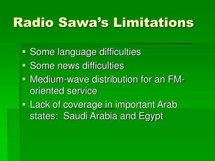 Radio Sawa's Limitations