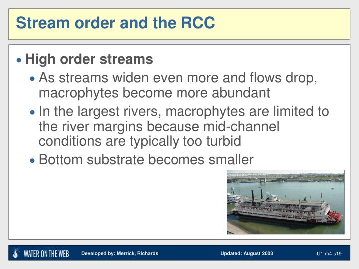 Stream order and the RCC