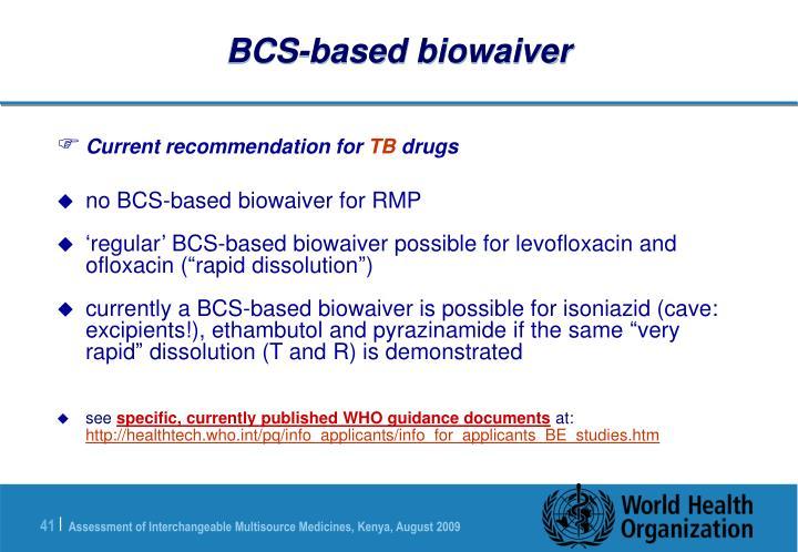 BCS-based biowaiver