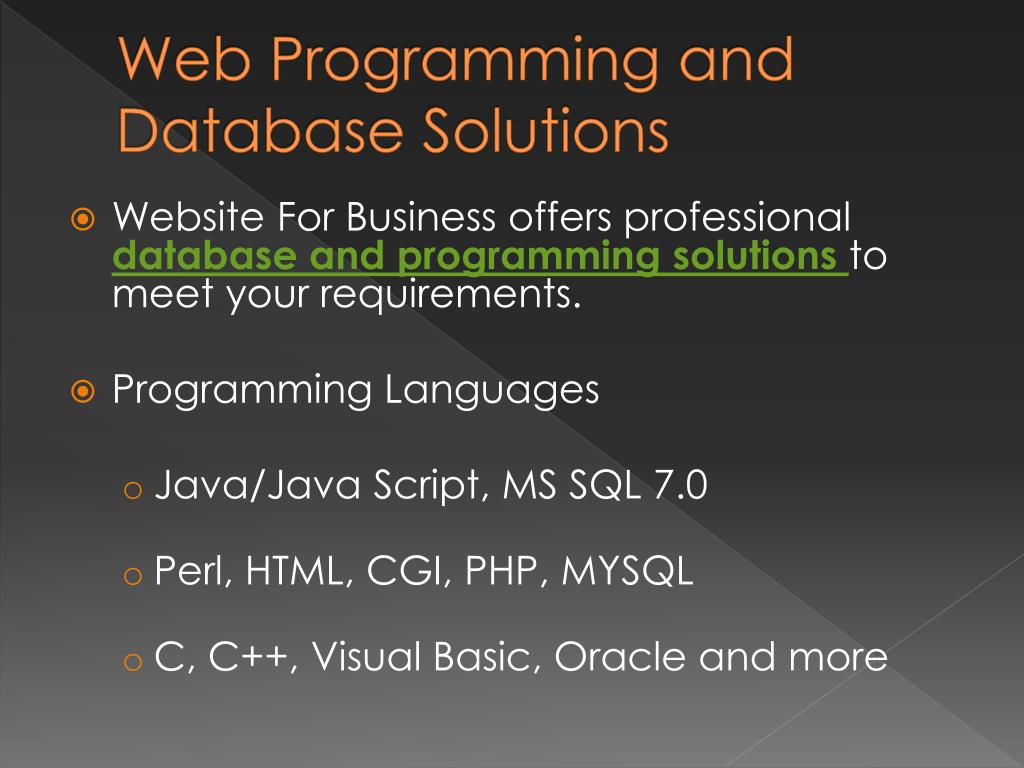 Web Programming and Database Solutions