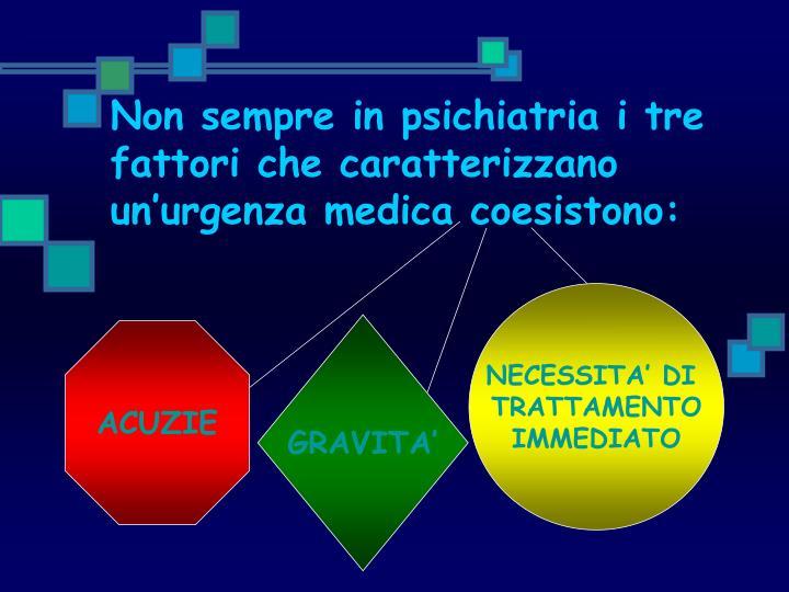 Non sempre in psichiatria i tre fattori che caratterizzano un'urgenza medica coesistono: