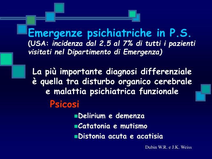 Emergenze psichiatriche in P.S.