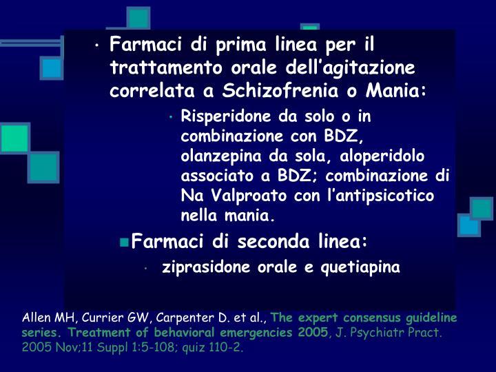 Farmaci di prima linea per il trattamento orale dell'agitazione correlata a Schizofrenia o Mania: