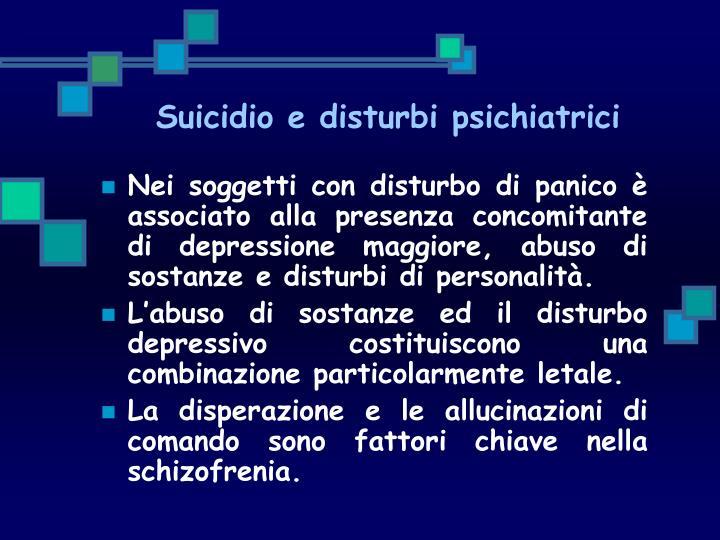 Suicidio e disturbi psichiatrici