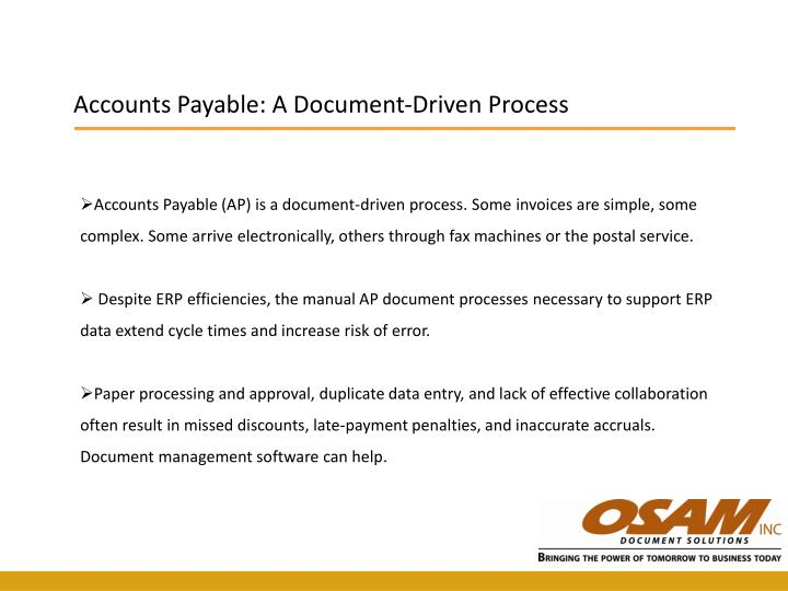 Accounts Payable: A Document-Driven Process
