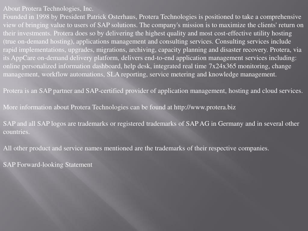 About Protera Technologies, Inc.