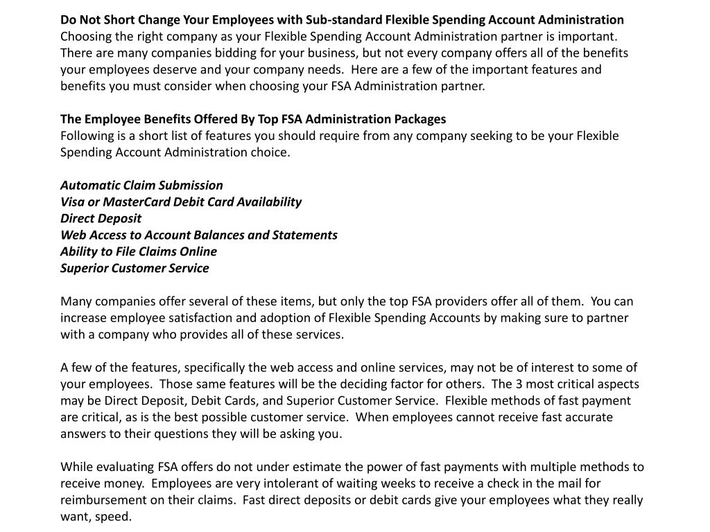 Do Not Short Change Your Employees with Sub-standard Flexible Spending Account Administration