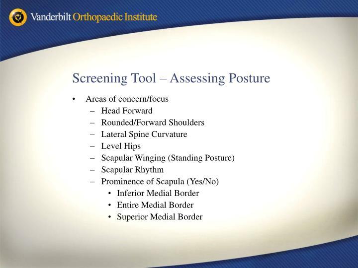 Screening Tool – Assessing Posture