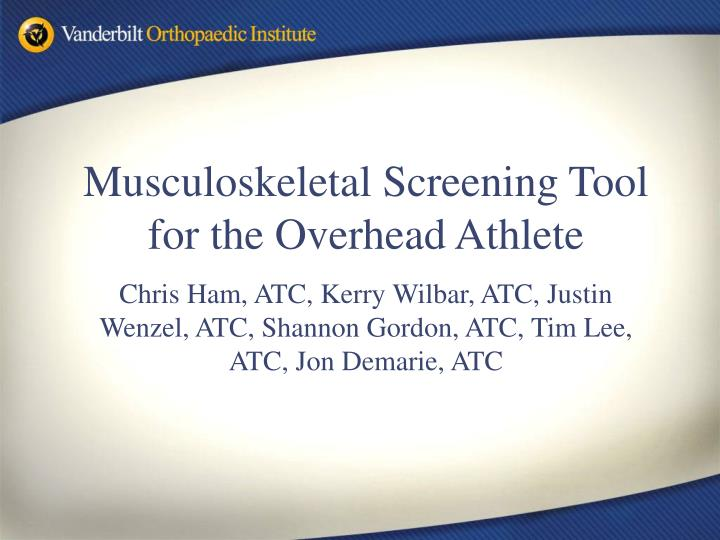 Musculoskeletal Screening Tool for the Overhead Athlete