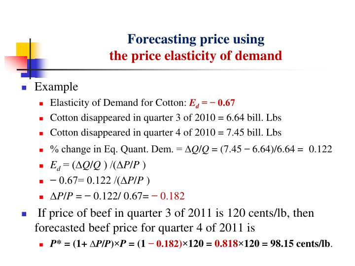 Forecasting price using