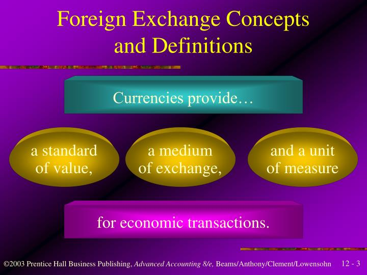 Foreign exchange concepts and definitions
