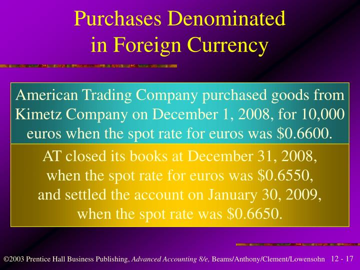 Purchases Denominated