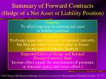 summary of forward contracts hedge of a net asset or liability position