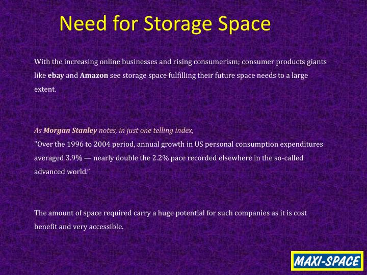 Need for Storage Space