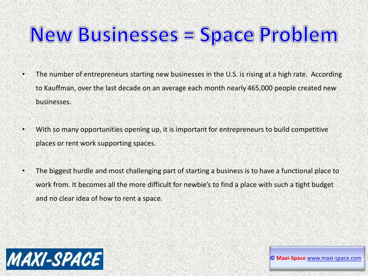 New businesses space problem