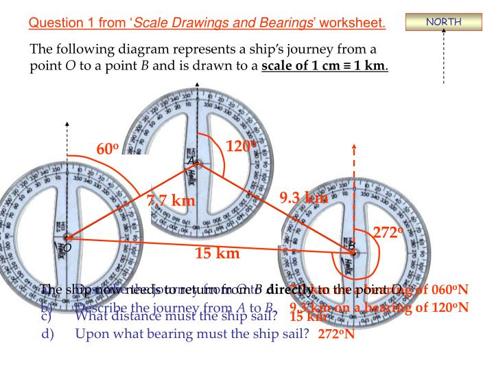Question 1 from scale drawings and bearings worksheet
