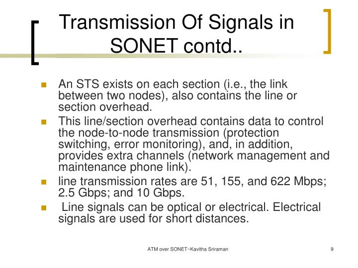 Transmission Of Signals in SONET contd..