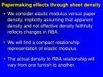 papermaking effects through sheet density