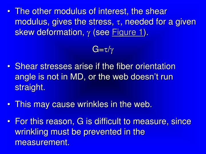 The other modulus of interest, the shear modulus, gives the stress,
