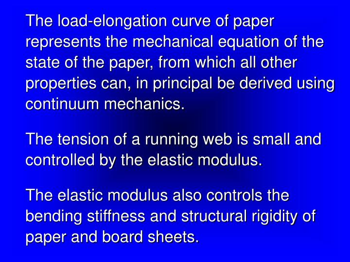 The load-elongation curve of paper represents the mechanical equation of the state of the paper, fro...