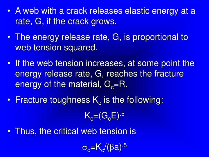 A web with a crack releases elastic energy at a rate, G, if the crack grows.