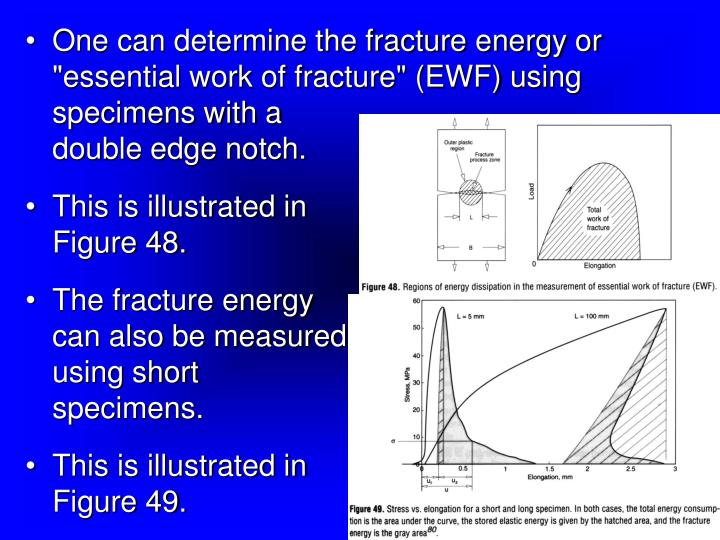 "One can determine the fracture energy or ""essential work of fracture"" (EWF) using specimens with a"