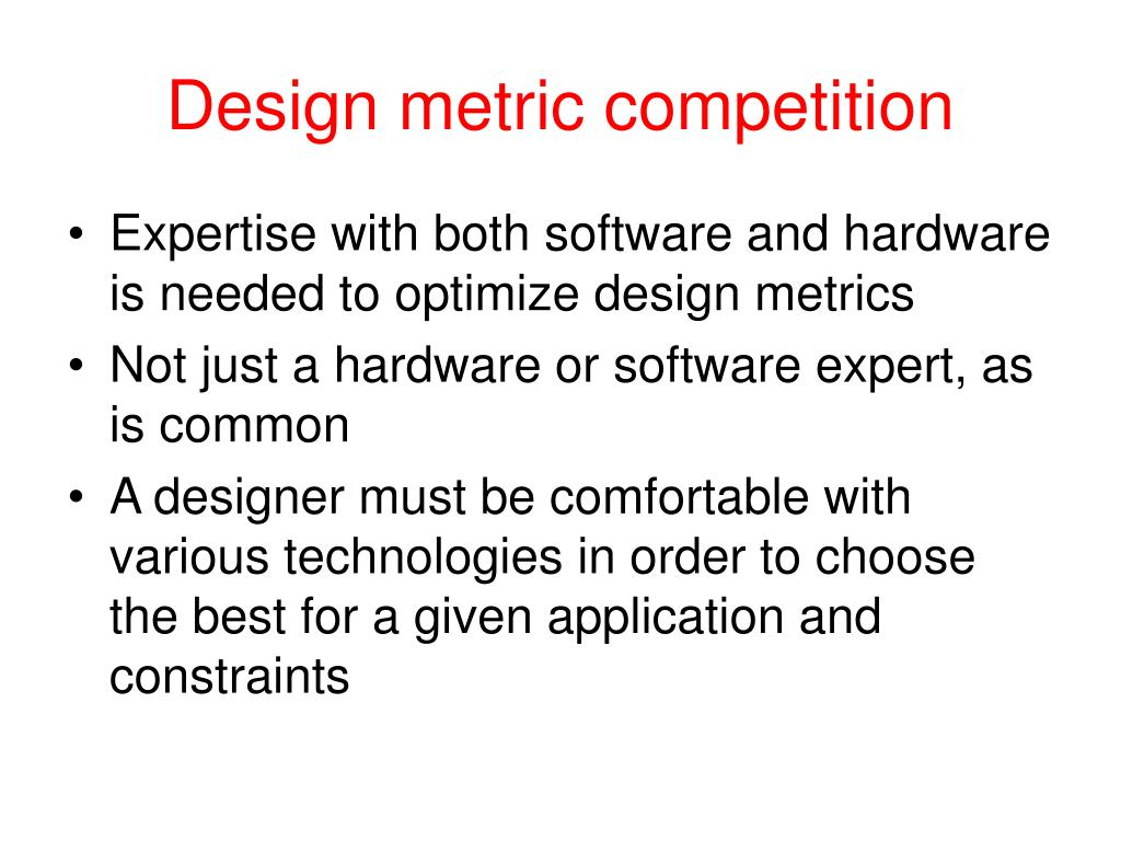 Design metric competition