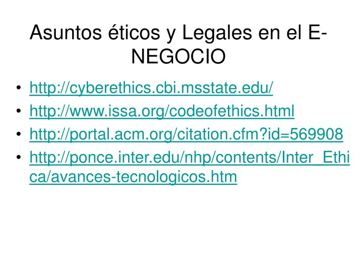 Asuntos éticos y Legales en el E-NEGOCIO