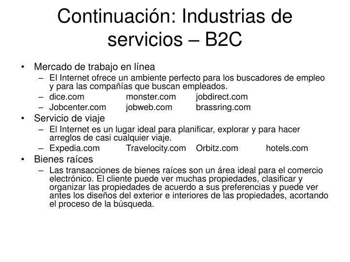 Continuación: Industrias de servicios – B2C