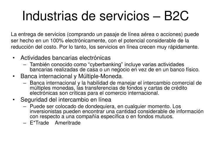 Industrias de servicios – B2C