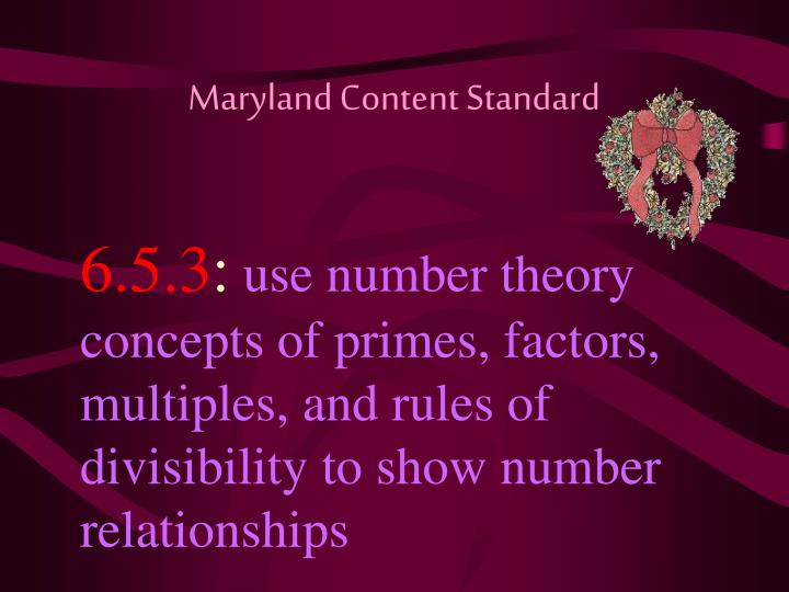 Maryland Content Standard