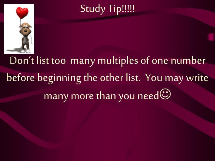 Study Tip!!!!!