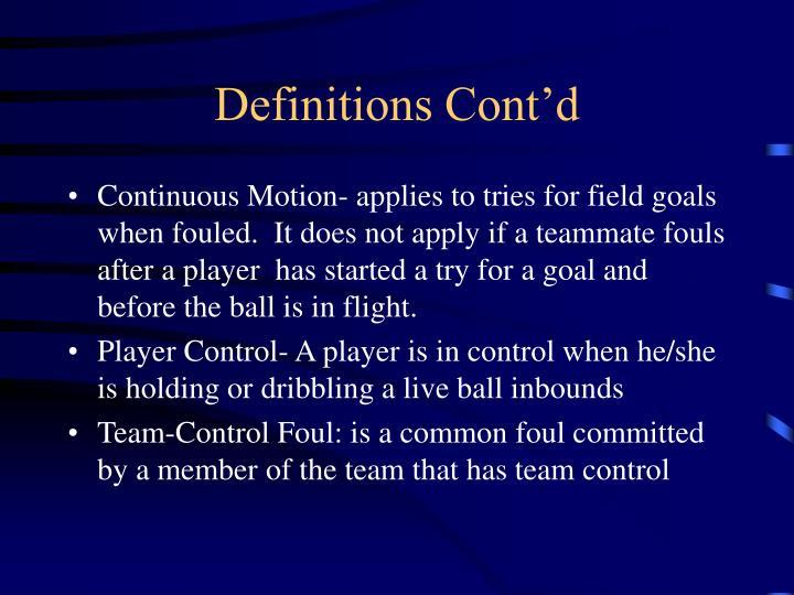 Definitions Cont'd