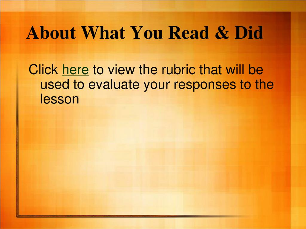 About What You Read & Did