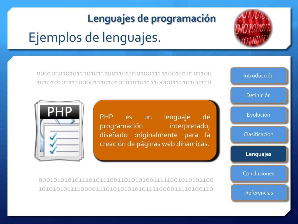 Ejemplos de lenguajes.