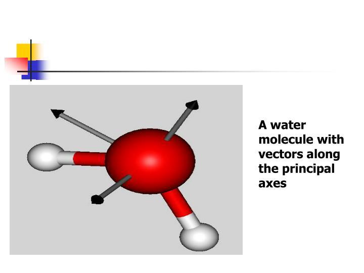 A water molecule with vectors along the principal axes