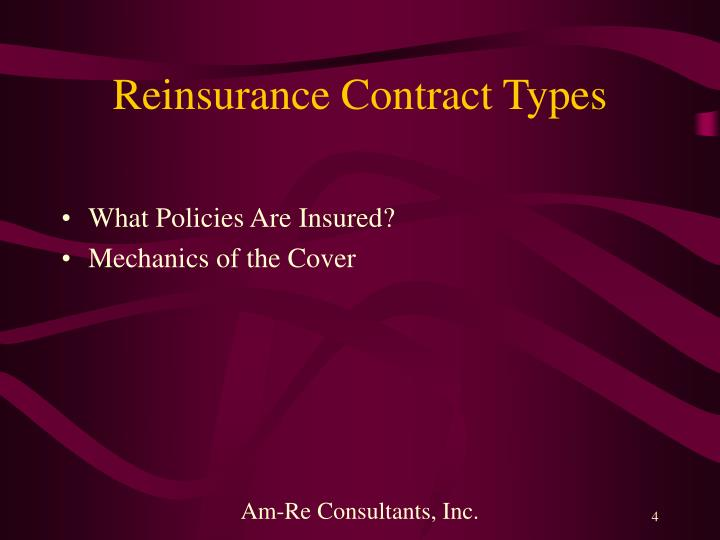 Reinsurance Contract Types