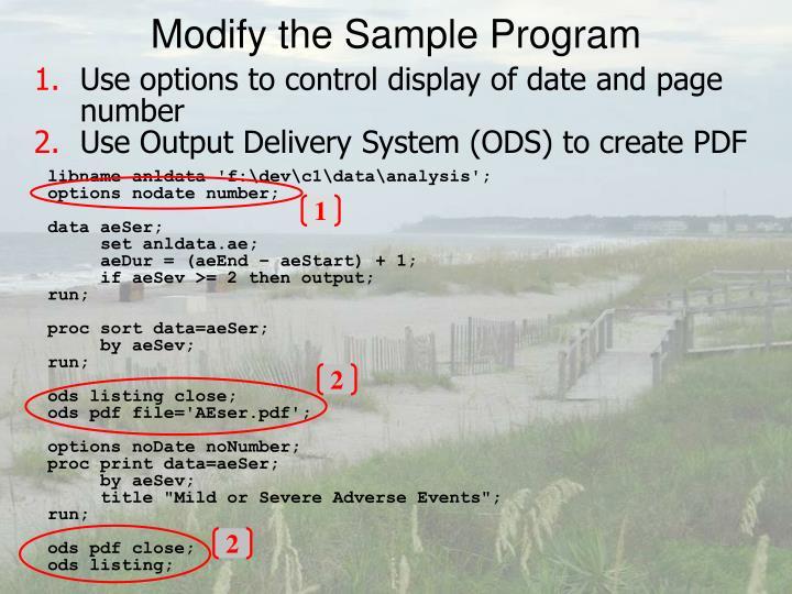 Modify the Sample Program