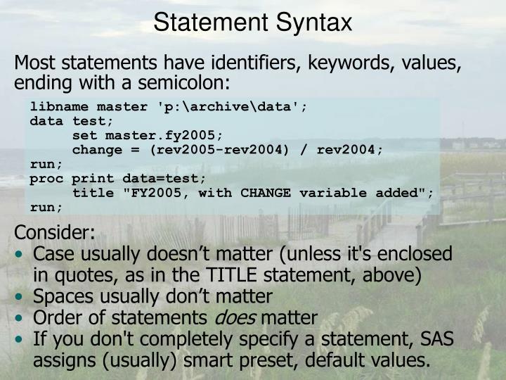 Statement Syntax