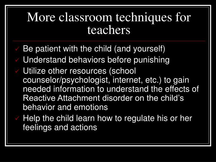 More classroom techniques for teachers