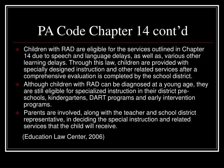 PA Code Chapter 14 cont'd
