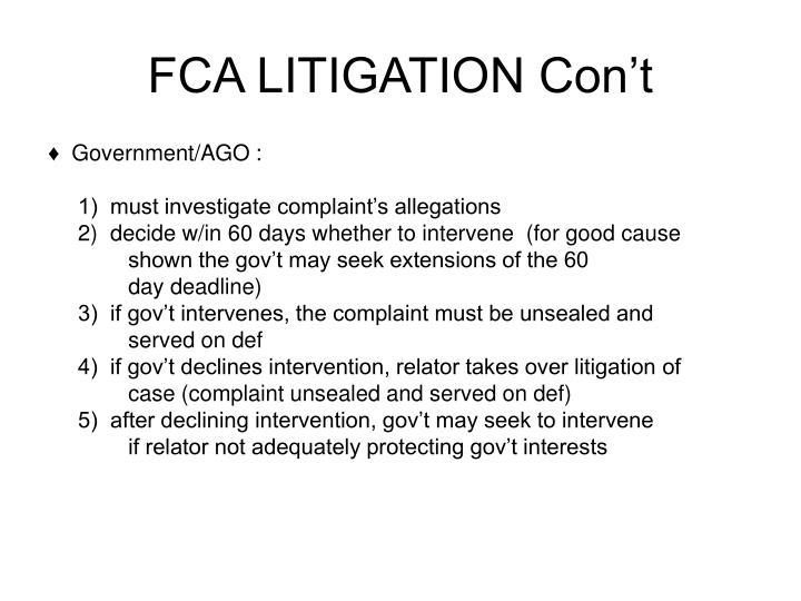 FCA LITIGATION Con't