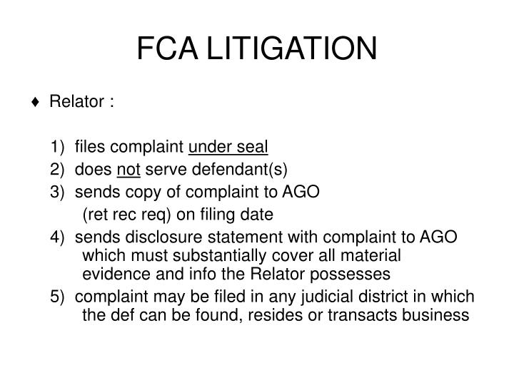 FCA LITIGATION