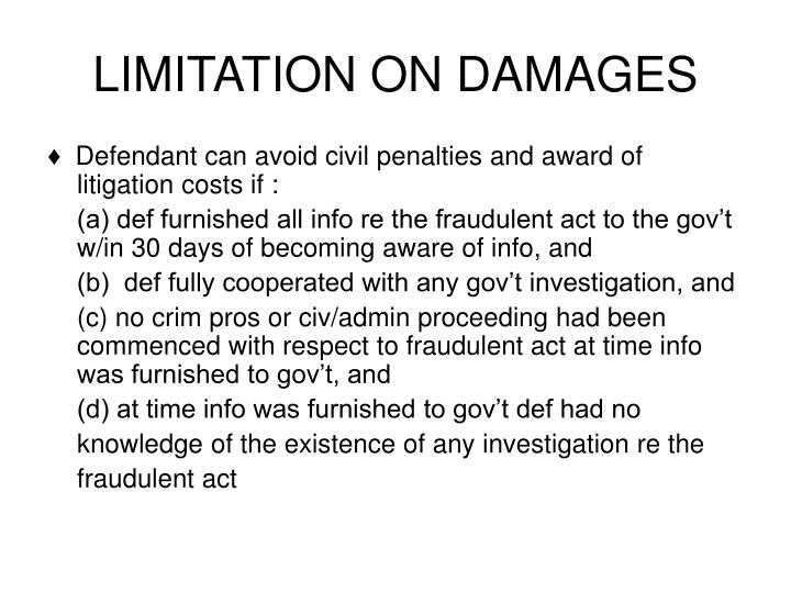LIMITATION ON DAMAGES