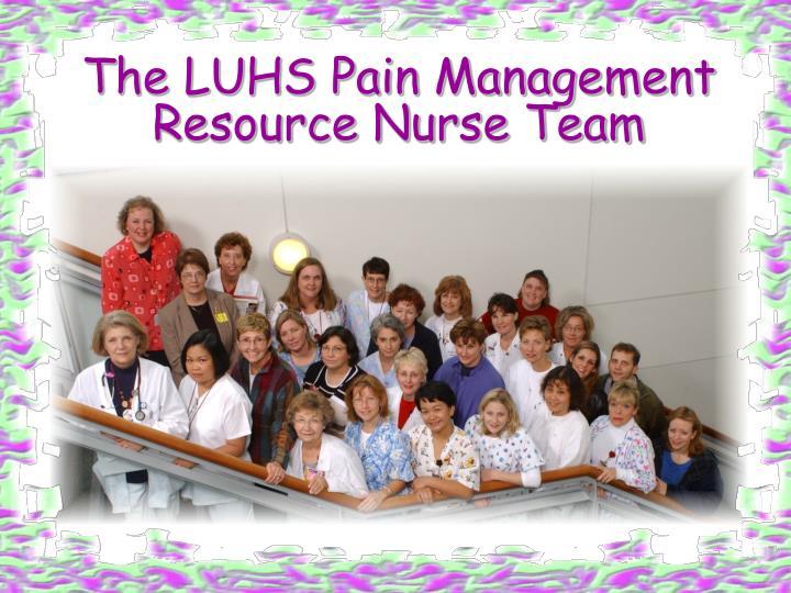 The LUHS Pain Management Resource Nurse Team
