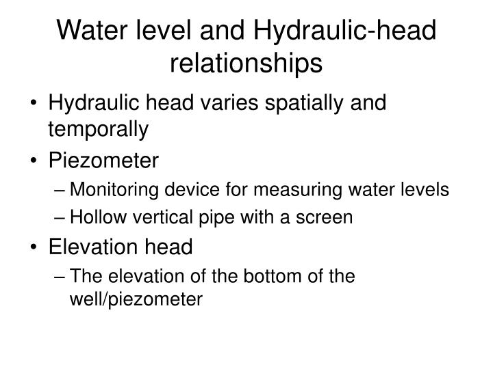 Water level and hydraulic head relationships