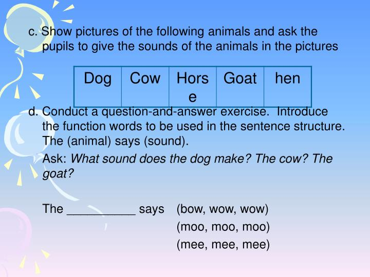 c. Show pictures of the following animals and ask the pupils to give the sounds of the animals in the pictures