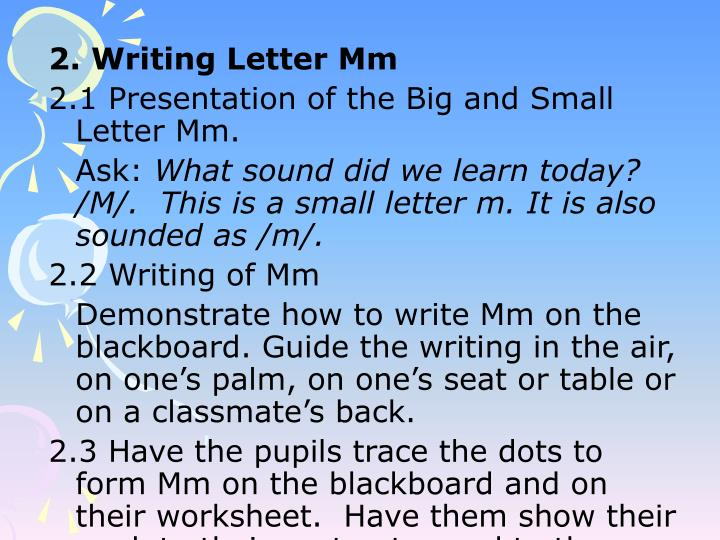 2. Writing Letter Mm