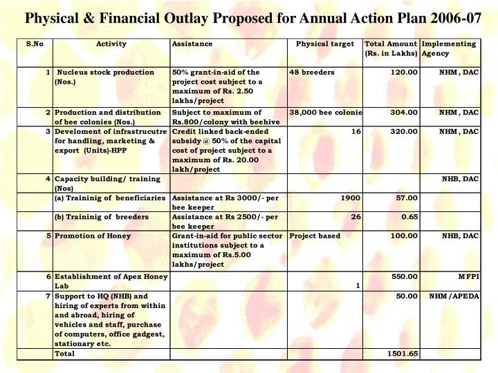Physical & Financial Outlay Proposed for Annual Action Plan 2006-07