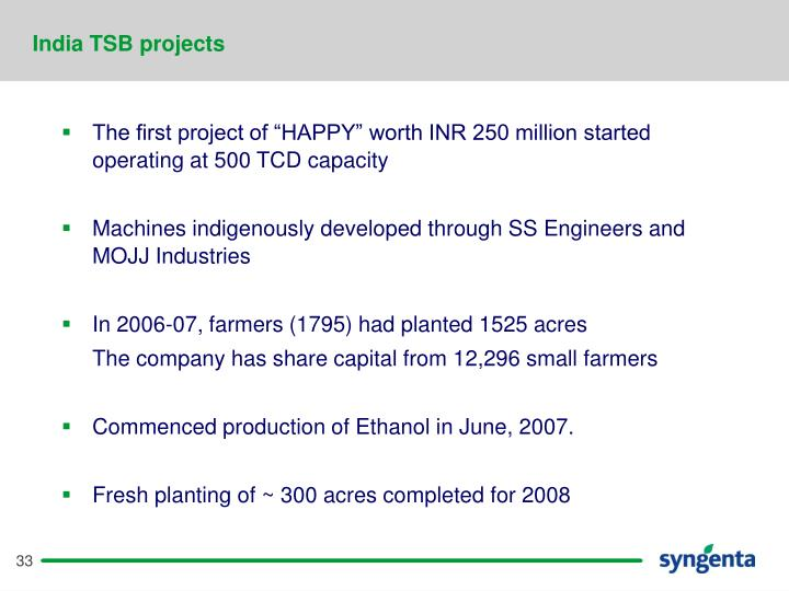 India TSB projects